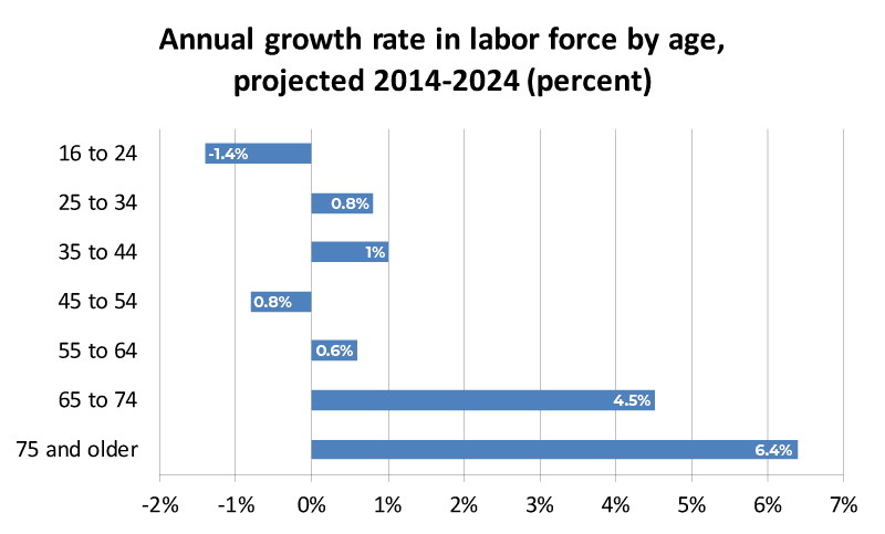 Annual growth rate in labor force by age, projected 2014-2024 (percent)
